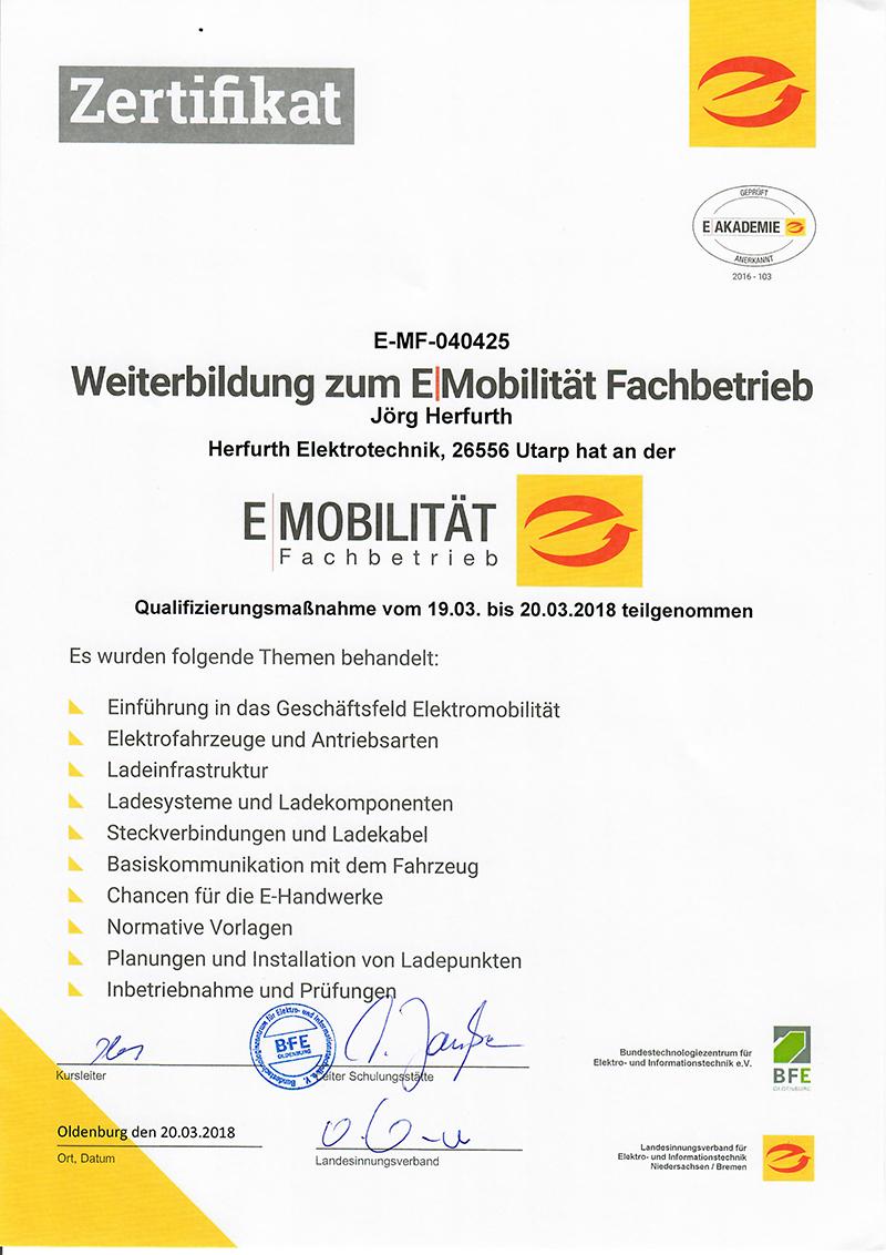 Zertifikat E-Mobilität[2267]