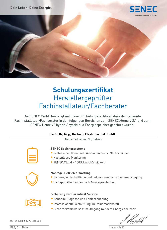 SENEC-Herstellerzertifikat